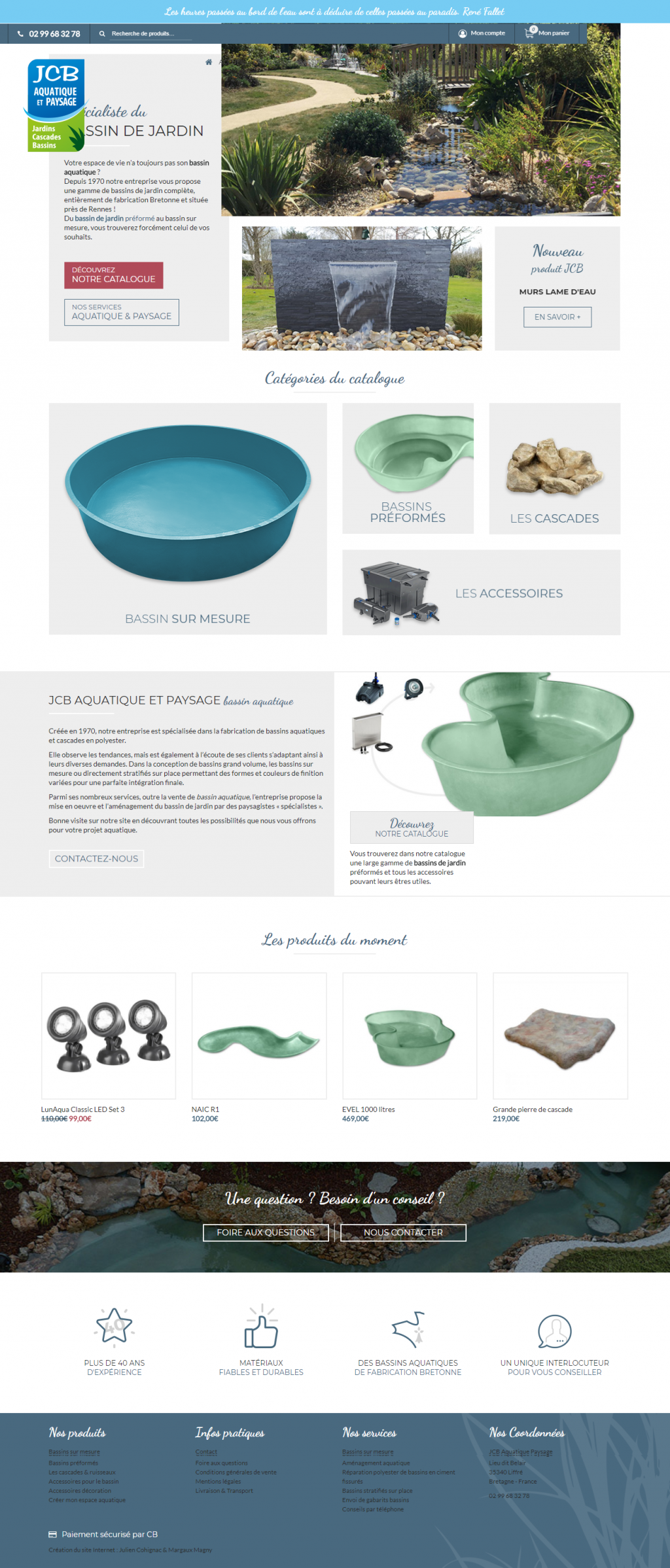 Création de site web pour Vente en ligne de bassin de jardin - JCB ...